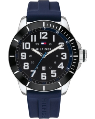 Tommy Hilfiger Men's Blue Silicone Strap Watch 46mm, Created for Macy's