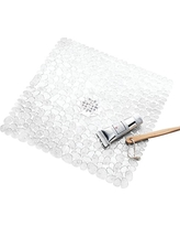 InterDesign Pebblz Non-Slip Suction Bath Mat for Shower, Bathtub - Square, Clear
