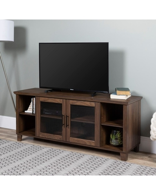Walker Edison Furniture Company Columbus Dark Walnut TV Stand with Middle Doors