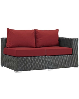 Modway Sojourn Wicker Rattan Outdoor Patio Sunbrella Fabric Right-Arm Loveseat in Canvas Red