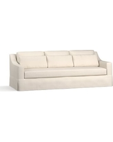 "York Slope Arm Slipcovered Deep Seat Grand Sofa 95"" with Bench Cushion, Down Blend Wrapped Cushions, Twill Cream"