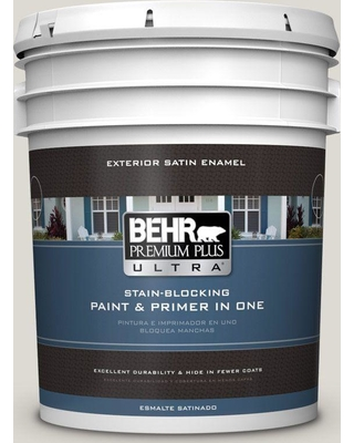 BEHR ULTRA 5 gal. #GR-W11 Silver Ash Satin Enamel Exterior Paint and Primer in One