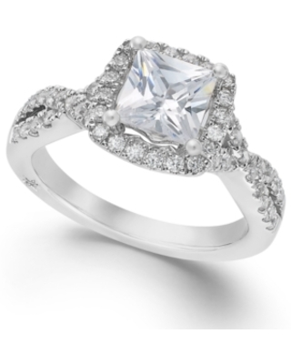Certified Princess Cut Diamond Twist Halo Engagement Ring (1-1/3 ct. t.w.) by Marchesa in 18k White Gold, Created for Macy's