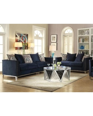 Phaedra Collection 528304SET 4 PC Living Room Set with Sofa Loveseat Coffee Table and End Table in Mirrored and Blue