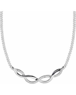 """Sterling Silver 1/4-ct. T.W. Round-Cut Diamond Infinity Necklace, Women's, Size: 17"", White"""