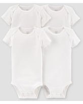 Baby 4pk Short Sleeve Bodysuit - Just One You made by carter's White Newborn
