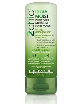 GIOVANNI 2chic Ultra Moist Deep Deep Moisture Hair Mask, 5 oz. Avocado & Olive Oil, Enriched with Aloe Vera, Shea Butter, Botanical Extracts & Oils, No Parabens, Color Safe (Pack of 1)