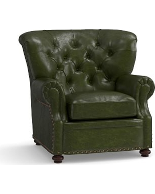 Lansing Leather Armchair, Polyester Wrapped Cushions, Legacy Forest Green