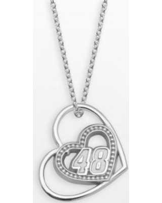"""""""Insignia Collection NASCAR Jimmie Johnson Sterling Silver """"48"""" Heart Pendant, Women's, Size: 18"""", Grey"""""""