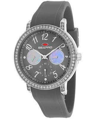 Seapro Womens Swell Grey Silicone Strap Watch, One Size