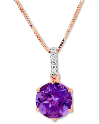 Jared The Galleria Of Jewelry Amethyst Necklace Diamond Accents 10K Rose Gold