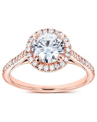 Annello by Kobelli 14k Rose Gold Round Moissanite and 1/4ct TDW Diamond Halo Engagement Ring (8.5)