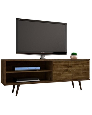 Manhattan Comfort Liberty 63 in. Rustic Brown Composite TV Stand Fits TVs Up to 60 in. with Storage Doors, Rustic Brown/Matte