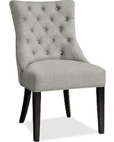 Hayes Tufted Dining Side Chair, Mahogany Frame, Premium Performance Basketweave Light Gray