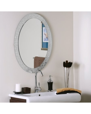 """Large 31.5 x 23.6"""" Oval Silver Crystal Decorative Mirror by Décor Wonderland"""