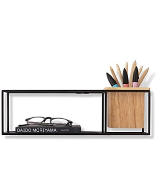 Umbra Cubist Floating Shelf with Built-In Succulent Planter – Modern Wall Décor and Geometric Display Shelf for Books, Candles, Mementos, Photos, Indoor Plants and More! | Small, Black