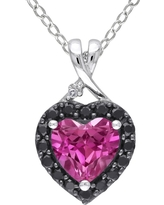 1 7/8 CT. T.W. Pink Sapphire and Black Spinal Rhodium with Diamond Heart Pendant in Sterling Silver - Pink
