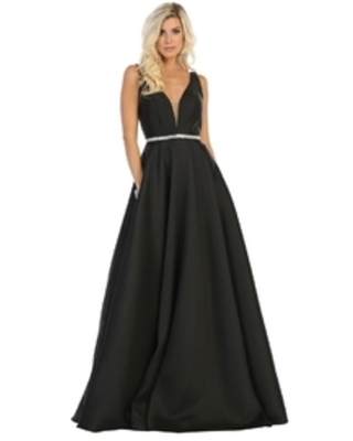 Black Satin A-Line Formal Ball Gown