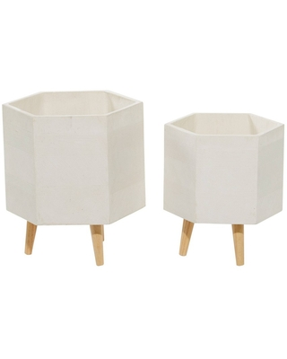 Set of 2 Indoor Hexagonal Planters with Stand and Pot White - Olivia & May