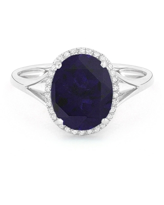 14k White Gold Ring with 4.1ct Oval Blue Created Sapphire and 0.1ct Round White Diamonds