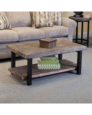 """Alaterre Pomona Metal And Wood 42"""" Coffee Table In Natural"""