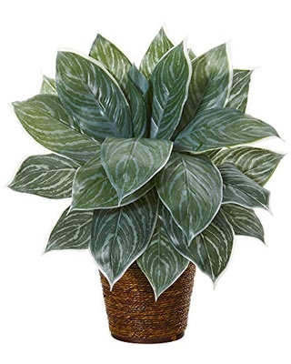 Nearly Natural 18in. Silver Aglaonema Artificial Basket (Real Touch) Silk Plants, Green