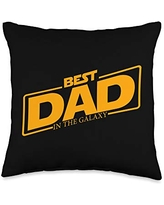 Father's Day Designs Dad-Gifts Best Dad in the Galaxy Funny Mens Father-Day Gift-Idea Throw Pillow, 16x16, Multicolor