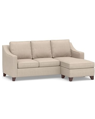 Cameron Slope Arm Upholstered Sofa with Reversible Chaise Sectional, Polyester Wrapped Cushions, Sunbrella(R) Performance Sahara Weave Oatmeal