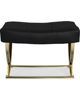 James Square Ottoman, Brass, Leather, Solid, Black