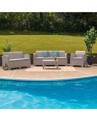 DAD-SF-123T-CRC-GG 4 Piece Outdoor Faux Rattan Chair Loveseat Sofa and Table Set in Light
