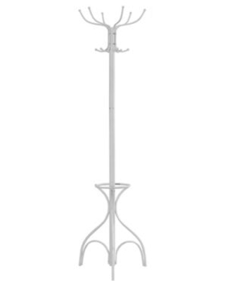 70-Inch Metal Coat Rack with Umbrella Stand in White