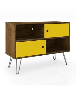 Manhattan Comfort Baxter 35-Inch TV Stand in Rustic Brown/Yellow