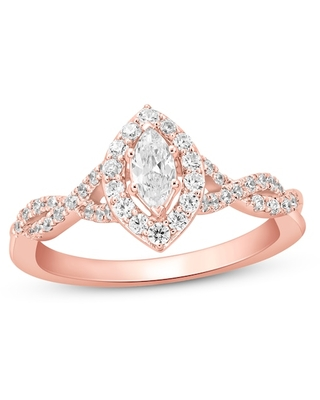 Diamond Engagement RIng 3/4 ct tw Marquise/Round-cut 14K Rose Gold