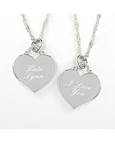 Engraved Silver Heart Necklace - Custom Message
