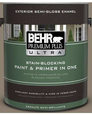 BEHR ULTRA 1 gal. #720D-5 Mocha Accent Semi-Gloss Enamel Exterior Paint and Primer in One