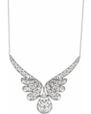 Sterling Silver Filigree Angel Wing Statement Necklace, Women's