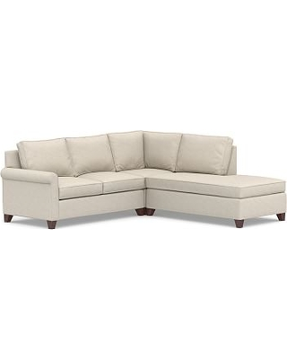 Cameron Roll Arm Upholstered Left 3-Piece Bumper Sectional, Polyester Wrapped Cushions, Performance Slub Cotton Stone