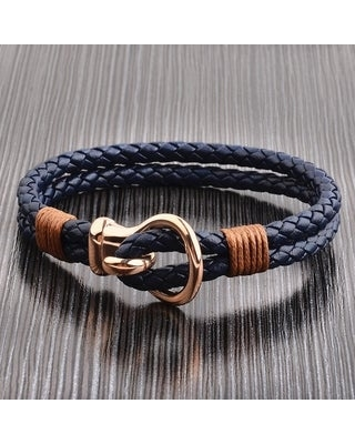 Crucible Stainless Steel Hook Clasp Leather Bracelet (10mm Wide) (Blue)