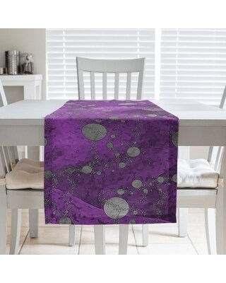 Monochrome Planets & Stars Table Runner (16 x 72 - Polyester - Violet)