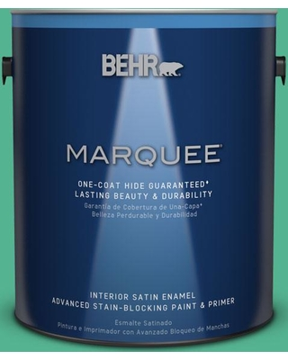 BEHR MARQUEE 1 gal. #MQ4-16 Aruba Green One-Coat Hide Satin Enamel Interior Paint and Primer in One, Greens