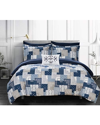 Chic Home Millennia 8 Piece Reversible Comforter Patchwork Bohemian Paisley Print Design Bed in a Bag-Sheet Set Pillowcases Decorative Pillow Shams Included, King, Blue