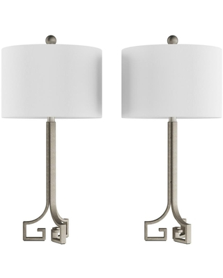 Lavish Home 28.75 in. Antique Silver Greek Key Design LED Table Lamps with Ivory Shades (Set of 2)