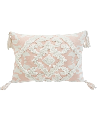 Corded Morocco Embroidered Decorative Throw Pillow (Multi - Cotton/Polyester - Rectangle - Bohemian & Eclectic - Zipper Closure - Geometric)