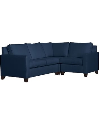 Cameron Square Arm Upholstered Left Arm 3-Piece Corner Sectional, Polyester Wrapped Cushions, Performance Everydayvelvet(TM) Navy