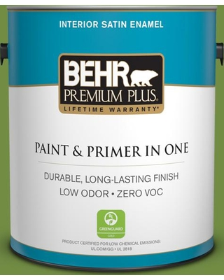 BEHR Premium Plus 1 gal. #420D-6 Thyme Green Satin Enamel Low Odor Interior Paint and Primer in One