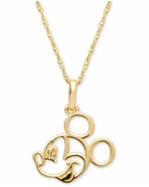"""Disney Children's Mickey Mouse 15"""" Pendant Necklace in 14k Gold - Yellow Gold"""