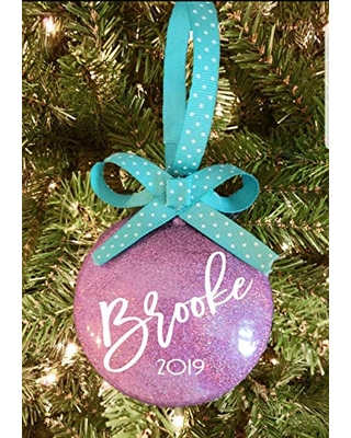 Personalized Family Name Christmas Ornament 2020 Pink with Turquoise Ribbon Keepsake