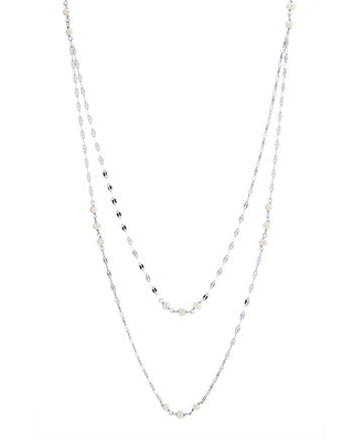Silver Reflections Cultured Freshwater Pearl Pure Silver Over Brass 32 Inch Valentino Chain Necklace, One Size