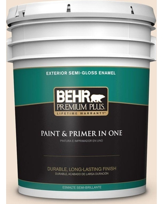 BEHR Premium Plus 5 gal. #270E-1 Orange Confection Semi-Gloss Enamel Exterior Paint and Primer in One