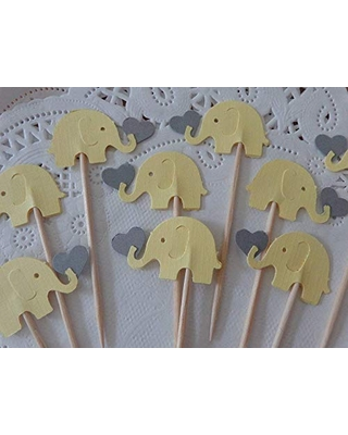 Light Yellow Elephants Holding Grey Hearts Cupcake Toppers - Yellow and Gray Elephants - Party Picks - Baby Shower - Gender Neutral Shower - (Set of 12)